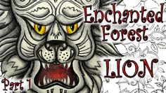 Enchanted Forest Coloring Book Tutorial - Lion Part 1 - Colored Pencils
