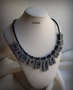 OOAK beadwoven metallic grey Right Angle Weave necklace