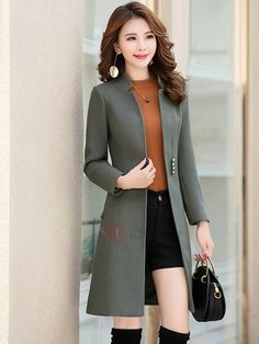 Long Sleeve Plain Mid-Length Winter Women's Trench Coat