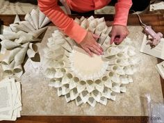 How to make a Dahlia book page wreath - A Wonderful Thought Need to Wreathe Making Club - class - June 2018 - Wreath Crafts, Diy Wreath, Flower Crafts, Burlap Wreath Tutorial, Old Book Crafts, Book Page Crafts, Creative Crafts, Diy And Crafts, Paper Crafts