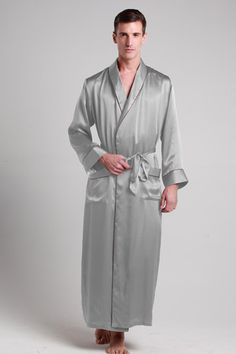 Shop for 100-percent pure long silk robes for men online in luxurious black, white and red. $99 #robes #silk #lilysilk
