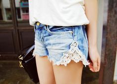 old jeans + lace = new shorts.