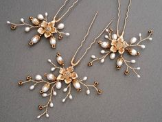 Bridal hair pins set of Hair Pins Freshwater hairpins by ZTetyana
