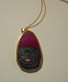 Black Pug Dog Chain Necklace Hand Painted by daniellesoriginals