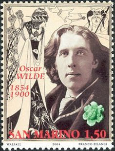 Literary Stamps: Wilde, Oscar (1854-1900) was an Irish author, playwright and poet. San Marino stamp 2004