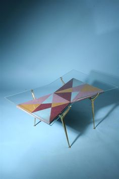 Cesare Lacca; Glass, Brass and Glazed Ceramic Occasional Table, 1950s.