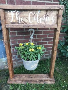 Plant Stand Personalized Wood Planter Plant Pot Hanging