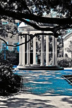Old Well UNC Black & White with Carolina Blue-Chapel Hill, North Carolina 10x15-Other Sizes Available-Fine Art Photography-,Tarheels, UNC. $36.00, via Etsy.