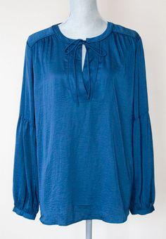 Ann Taylor LOFT Silky Peasant Blouse Size Large Twilight Teal Blue