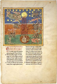 Leaf from a Beatus Manuscript: at the Clarion of the Fifth Angel's Trumpet, a Star Falls from the Sky; the Bottomless Pit is Opened with a Key; circa 1180. Spanish. Tempera, gold and ink on parchment. Metropolitan Museum of Art, Cloisters Collection