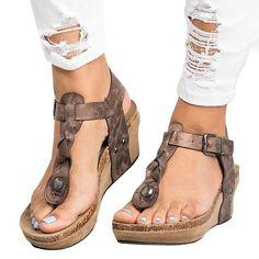 61fd0d65d83 Large Size Adjustable Buckle Wedge Sandals Leather Sandals