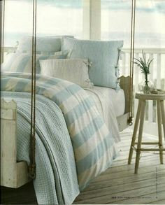 Creme And Washed Out Blue Serene Beach Cottage Porch !