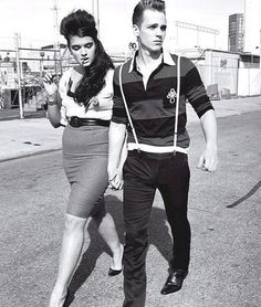 Greaser couple! My new goal: have a greaser photo shoot with the hubby! <3
