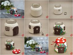DIY Clay Jar Mushroom House Tea Light Holder : Been searching for a DIY clay project to make that looks unbelievable? This DIY Clay Mushroom is an amazing project to make & impress your friends Diy Clay, Clay Crafts, Crafts For Kids, Polymer Clay Projects, Christmas Candle Decorations, Christmas Candles, Vase Decorations, Home Decoration, Home Candles