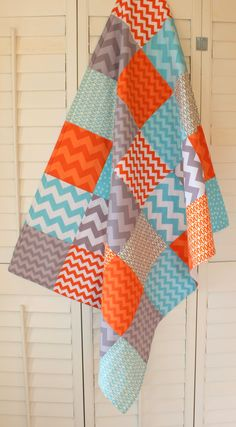 Baby Blanket - Unisex Baby Blanket - Gray, Orange and Aqua Blue Chevron