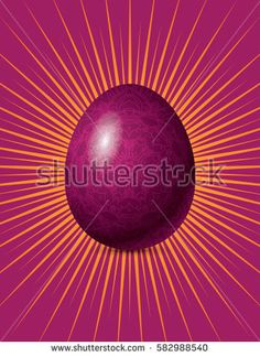 Vector Easter poster. Illustration of egg covered by mandala pattern with yellow rays on the red fuchsia background.