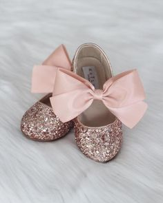 ROSE GOLD Rock Glitter Maryjane Flats With ROSE GOLD Satin Bow