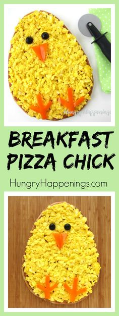 Make your Easter brunch egg-stra special by serving this adorable Breakfast Pizza Chick topped with ham, cheese, and scrambled eggs made using Eggland's Best Eggs. See how easy it is to decorate using orange peppers and black olives. #EgglandsBest #EBeggs