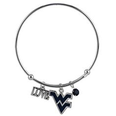 Bangle Wire Bracelet Love West Virginia University with Blue WV Team Logo Charm Silver Colored. West Virginia University silver color expandable wire bangle with three dangle charms. LOVE charm, WV Team Logo, Team Color Blue Crystal Bead. Bangle measures approx 2 5/8 inches across and adjusts easily on your wrist. Fashion trending bracelet for WVU Mountaineers Fans!. Officially Licensed Collegiate Product.
