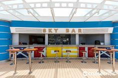 Sky Bar (Deck Overlooking the main pool, this is the place to go to get a beer, wine, soft drink or try the cocktail of the day, which range from Woo Woos to Mai Tais. Jewel Of The Seas, Sky Bar, Soft Drink, Cruise Port, Caribbean Cruise, Barbados, Places To Go, Deck, Cocktail