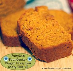 Pumpkin Poundcake~(Sugar free, low carb, THM S) For more low glycemic recipes, visit me at www.ahomewithpurpose.com