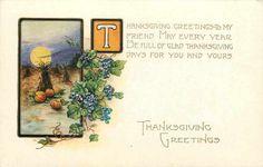 Thanksgiving~Art Deco~Pumpkins Cornstalks Under Full Moon~Emboss~Whitney Made | eBay