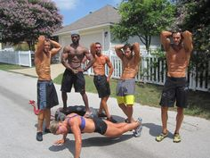 Vegan Bodybuilders: Ed Bauer (first from left), Derek Tresize (third from left), Chad Byers (first from right)