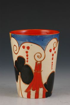 Clarice Cliff Beaker - Summer House Pattern - Bizarre/Fantasque marked - 1930