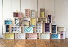 Peindre le fond de caisses avec du papier peint u00e0 motifs. - Interior Style