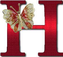 Alfabeto rojo con mariposas doradas.