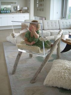 Love this driftwood/acrylic chair!