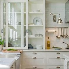 Sliding Glass Cabinets, Transitional, kitchen, Deulonder