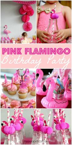 It's official, the hottest new trend in girls party decor and themes is the Flamingo! My 5 yo niece decided on a Pink Flamingo Party for her birthday. Girls Birthday Party Themes, Safari Birthday Party, Luau Birthday, First Birthday Parties, Pink Birthday, 10th Birthday, Birthday Ideas, Pink Flamingo Party, Flamingo Birthday