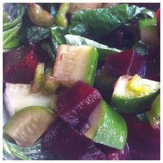 Beet Cucumber salad with Sesame Greens #vegan