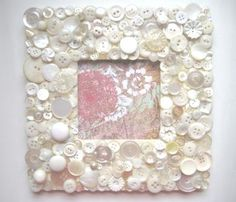 Picture frame vintage white, cream, beige buttons 3 X 3