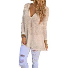 2016 Korean Style Knitted Sweater Women Sexy V Neck Hooded Long Sleeve Sweater Pullover Crop Knitwear Tops Beige Plus Size u2
