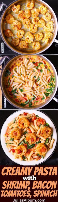 Creamy Pasta with Shrimp, Bacon, Spinach, Tomatoes, Garlic.