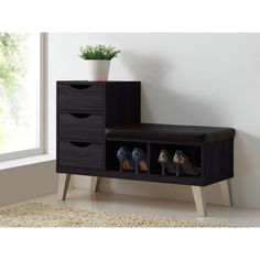Baxton Studio Arielle Modern and Contemporary Dark Brown Wood 3-drawer Shoe Storage Padded Leatherette Seating Bench with Two Open Shelves