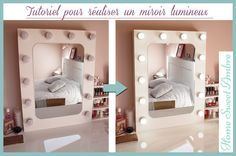 DIY Miroir lumineux maquillage pro - Vanity mirror with lights / Hollywood vanity mirror Diy Vanity Table, Dyi, Hollywood Vanity Mirror, Ikea Office, Make Up Storage, Mirror With Lights, Little Houses, Dream Bedroom, Logs