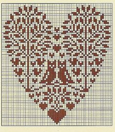 Cross-stitch owl heart trees