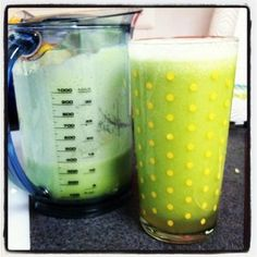 """The link to this blog has some of the juicing recipes I use. And some I'd like to try! [Juice: 1c. spinach, 1/2c. parsley, 1 rib celery, 1/2 cucumber, 1/2 pear, 1/2 green apples, 1/4 of a papaya seeds removed, 1"""" piece of ginger.]"""