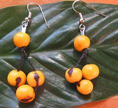 NATURAL HANDMADE BRAZILIAN YELLOW ACAI BEAD EARRINGS | eBay