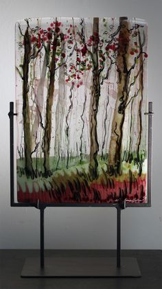 Strawberry Fields, Fused Glass Panel in Stand, SOLD Alice Benvie Gebhart