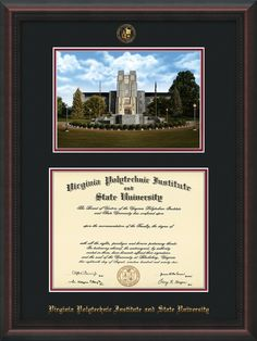 virginia tech diploma frame mahogany braid wembossed vt seal name wburruss memorial campus watercolor black on maroon mat