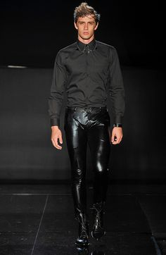 by Ermmano Scervino ... Less shiny more All Saints style leather pants, different black top KEEP shiny black shoe