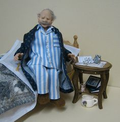 12th Scale Doll ~ Old Fella Ready for Bed | by Joy ~ Adora Bella Minis