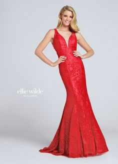 Ellie Wilde EW117048 - Sleeveless lace trumpet gown, deep plunging V-neckline with illusion modesty panel, hand-beaded illusion back, slight train.