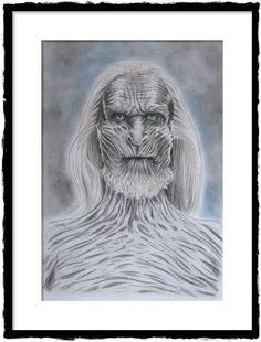 White Walker, Weißer Wanderer, Game of Thrones Zeichnung Fine Art Bild Original