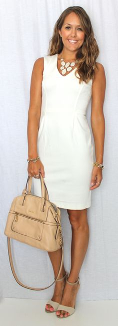 White sheath and nude accessories — J's Everyday Fashion