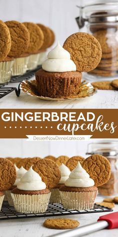 Gingerbread Cupcakes are an easy homemade spice cake. Full of ginger, cinnamon, nutmeg, and cloves and topped with the BEST cream cheese frosting. You'll love the holiday flavors. A great Christmas or New Year's Eve dessert. Best Dessert Recipes, No Bake Desserts, Cupcake Recipes, Sweet Recipes, Baking Recipes, Cupcake Cakes, Frosting Recipes, Holiday Desserts, Christmas Recipes